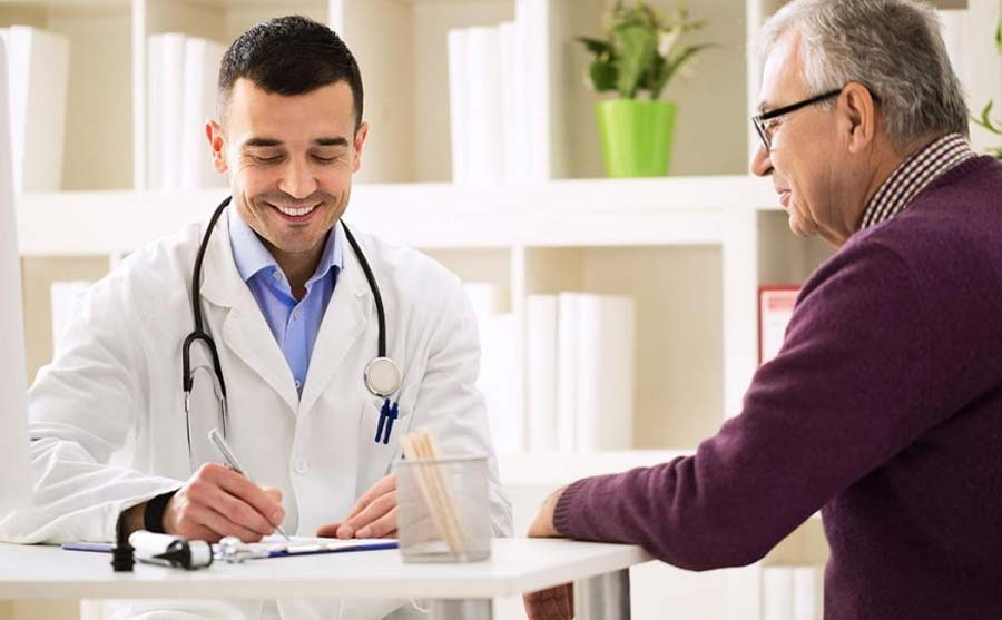 Doctor consultation with a patient regarding available health services