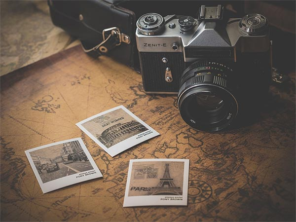 Camera and three photos taken by someone who was able to enjoy their holiday after receiving a travel vaccination